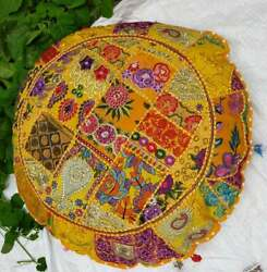 Indian Yellow Decorative Floor Cover White Round Patchwork Cushion Cover Throw