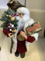 18 In Standing Santa In Black And Gold Robe With Gift And Tree W/cracked Holly Nwot
