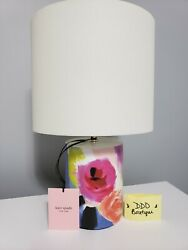 Kate Spade Floral Watercolor Abstract Small Cylinder Ceramic Table Lamp And Shade