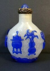 Antique Chinese Peking Glass With Carved Blue Overlay Snuff Bottle