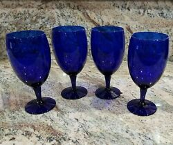 """4 Cobalt Blue Glass Wine / Water Goblet Footed Stem 7"""" Tall 16 Oz Mint Condition"""
