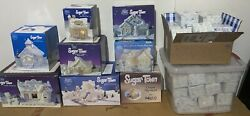 Precious Moments Sugar Town Collection 70 Pieces Total, 8 Houses And 62 Figures