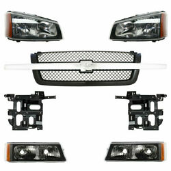 New Grille And Headlight Kit And Brackets For Chevy Silverado 1500 2500 3500 03-06