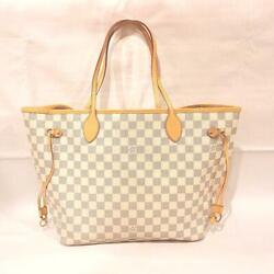 Louis Vuitton Damier Azul Neverfull Mm Tote Bag Pink Auth Mm3501