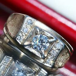 1920and039s Antique 14k Yellow Gold 0.85ct Diamond Sz 9.25 Ring Handmade 7.6gr N2389a
