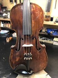 Old 1870s German 4/4 Violin For Repair. Antique. One Piece Back.