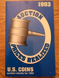 1993 Auction Prices Realized Book For U.s. Coins Auction Results For 1992