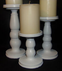 3pc Set Pedestal Candle Holders Rustic White Pillar Candle Stands Home Decor New