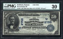 Ks 1902 50 Date-back ♚♚atchison Kansas♚♚ Pmg Very Fine 30 Rare Note
