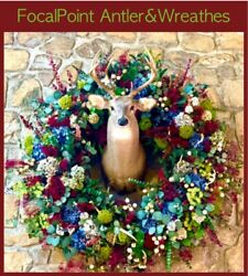 Exquisite Antler Deer Wreath 60 In. With Massive White Tail 158 Inch 10 Point.