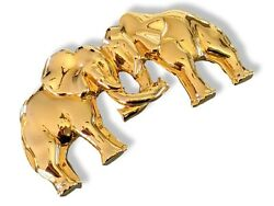 Hermes Vintage 1990s Plated Yellow Gold Elephants Belt Buckle 32mm Rare