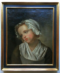 18th Century Portrait Of A Young Woman In A Bonnet Greuze French Oil Painting