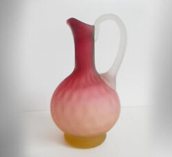 Stevens And Williams Hand Blown Art Glass Ewer With Applied Glass Handle