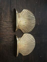 Vintage Brass Sea Shell Bookends Windcurrent Collection Made In Taiwan
