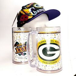 Vtg 1997 Green Bay Packers Nfl Super Bowl Xxxi Hat Nwt, Collector's Set W/mugs