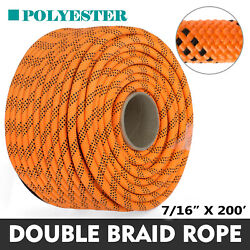 200' Double Braid Polyester Rope Rigging Rope 7/16 8400lbs Breaking Strength