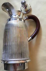 Antique Silverplate Pitcher Thermos Thermal Reservoir Bakelite Handle India