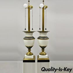 Stiffel Italian Regency Large Porcelain Urn Brass Finish Tall Table Lamps - Pair
