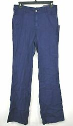 Nydj Womens Linen Trousers Lift And Tuck Technology Stretch Button Fasten