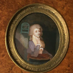 18th Century Portrait Young Woman Near A Bird Cage Miniature Oil French School
