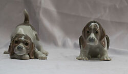 Magnificent 2 Pieces Of Hand Painted Porcelain Lladro Puppies Must See