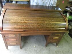 Large Antique Solid Oak Roll Top Desk 1900and039s By Chicago Furniture Co 66 By 36
