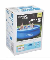 Summer Waves 10and039x30 Quick Set Inflatable Ring Above Ground Pool W/ Filter Pump