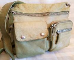 FOSSIL Leather Green Distressed Soft Crossbody Outer Pouch Pockets 11 x 10 Nice $28.88