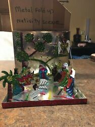 Christmas Decoration Metal Nativity Scene Very Unique And Old