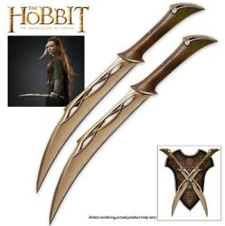 UNITED CUTLERY The Hobbit Fighting Knives of Tauriel w Plaque UC3044 NEW SEALED