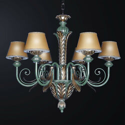 Chandelier Classic Wooden Turquoise And Leaf Gold 6 Lights Bga 3152-6p