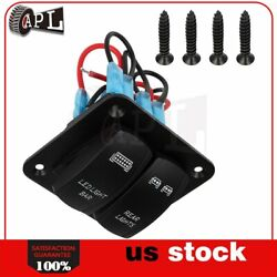 Led Rocker Switch Panel Breaker And Decal 12/24v Car Marine Boat 2 Gang Dual Abs