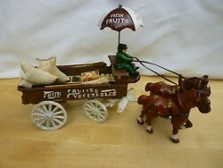 Vintage Cast Iron Horse Drawn Cart Fruit And Vegetable Wagon Figure Brooms Crates