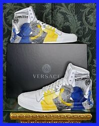 New Versace High -top White Leather Sneakers Greek Mythology Print 46 - 13