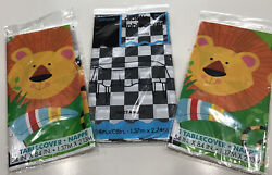 Lot Of 3 Plastic Table Cloths 2 Jungle Animals + 1 Black/ White Check Party New