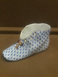 Herend Baby Shoe Blue Fishnet 07570 Brand New Free Usps Shipping