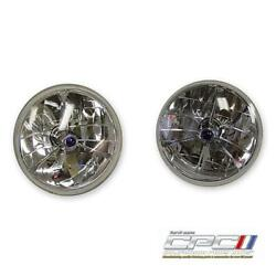 1965-1968 Mustang Tri-bar Headlamps Halogen 7and039and039 Blue Dot Pr..