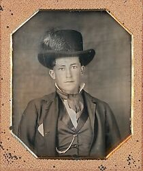 Handsome Teenage Boy Wearing Hat With Feather 1/6 Plate Daguerreotype G547