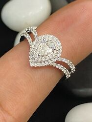 Pave 0.73 Tcw Pear Round Cut Natural Diamonds Wedding Ring In 750 Fine 18k Gold