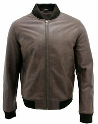 Mens Casual Brown 100 Real Leather Bomber Jacket