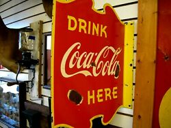 Rare1940 Cocacola Flanged Double Sided Porcelain Sign 20 X 18 Made In Canada