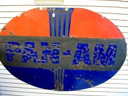 Original Pan - Am Double Sided Porcelain Advertising Sign 6 Ft. X 4 Ft.