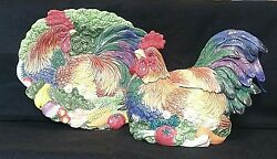 Fitz And Floyd Coq Du Village Soup Tureen With Ladle And Platter