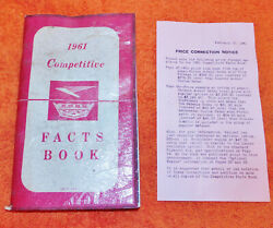 1961 Ford Nos And039competitive Factsand039 Dealer Salesman Handbook Manual Booklet