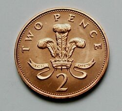 1988 Uk British Coin From Mint Set - 2 Pence 2p - Au+ Details Marks
