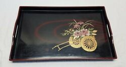 Vintage Japanese Black Gold Lacquer Ware Serving Snake Tv Tray Flower Cart Wagon