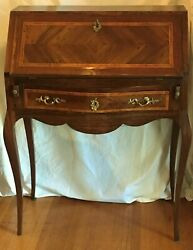 French Writing Desk With Fall Front. Walnut And Fruit Woods. 19th Century