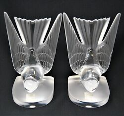 Lalique Deux Hirondelles Two Swallows Crystal Bookends/paperweights Mint