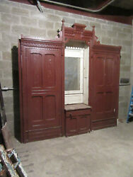 Antique Carved Walnut Closet Front Built In Armoire Butlers Pantry 108 X 109