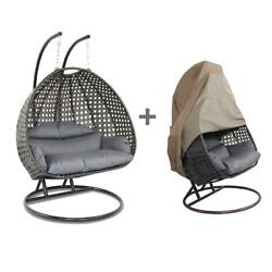 Hanging Egg Chair With Stand And Cover Resin Wicker Loveseat 2 Seat Outdoor Patio
